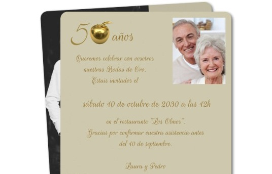 tarjetas para las bodas de oro